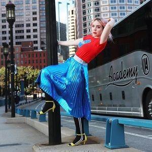 LuLaRoe Metallic Pleated Midi Skirt